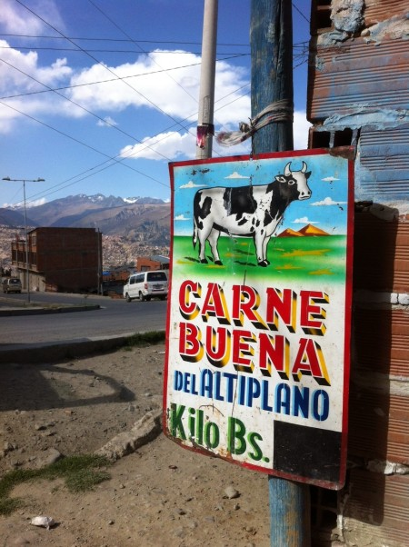 Metzgereischild in La Paz